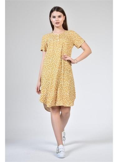 Rodi Jeans Kadın Yuvarlak Yaka Kalp Baskılı Elbise DS21YB112192 Sarı